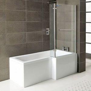 Raumspar Badewanne Syna mit Duschzone 150 x 85/70 x 40 cm, Rechts, weiß, Komplett-Set