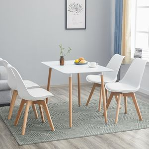 HJ Esstisch(Weiß) mit 4 Weiß Stühlen Esszimmer Essgruppe(Runde) 110x70x73cm Tisch