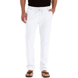 Herren Casual Leinen Atmungsaktiv Loose Long Pants Einfarbige Straight Hose Größe:L,Farbe:Weiß