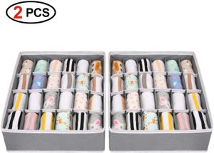 Aufbewahrungsboxen für Unterwäsche und andere kleine Zubehörteile,24 Zellen Faltbare Schubladenunterteilungen zum Aufbewahren von Socken,Schals,Büstenhalter (2 Stück,Grau)