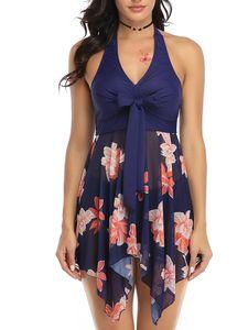 ydance Plus Size Damen Badekleid Tankinis Badebekleidung Mesh Badeanzug Gepolsterter,Farbe:Dunkelblau,Größe:M