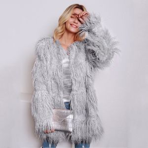 Frauen Kunstpelz langen Mantel Jacke mit langen aermeln kragenlose Taschen Solide Vintage Winter pelzigen Casual Mantel OutwearM