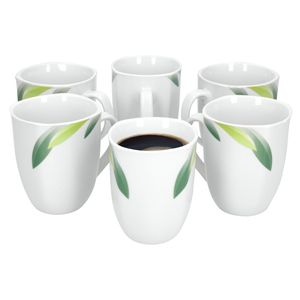Van Well Siena 6er Set Kaffeebecher, 330 ml, H 10,3 cm, Kaffeetasse, Blattdekor, Marken-Porzellan