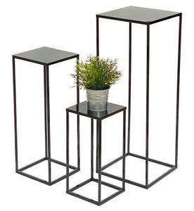 DanDiBo Blumenhocker Metall Schwarz Eckig 3er Set Blumenständer Beistelltisch 434 Blumensäule Modern Pflanzenständer Pflanzenhocker