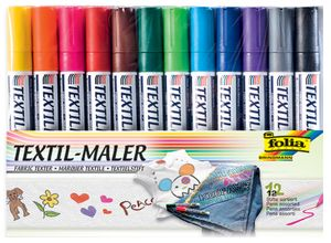 folia Textilmarker 12er Set farbig sortiert