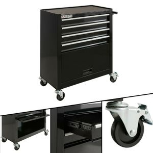 AREBOS Werkstattwagen Werkzeugwagen Rollwagen 4 Schubladen + großes Fach schwarz