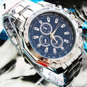 Mode Männer Edelstahl Quarz Analog Sport Armbanduhr Vatertagsgeschenk Blau