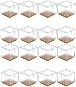 16 x Stuhlbeinkappen Silikon Fußboden Stuhlbein Schutz Öffnungs Caps Möbel Tischabdeckung Furniture Table Chair Legs Feet Covers Pads Protectors für 33-35MM Quadratisch Beine (Transparent)