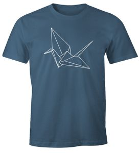 Herren T-Shirt Origami Kranich Crane Vogel Bird Geometrisch Moonworks® denim S