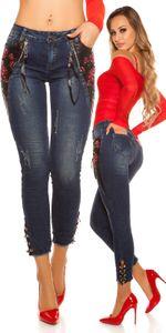 Ankle Skinny Jeans mit Deko Stickerei im Leder Look, Farbe: Dunkelblau, Größe: 36