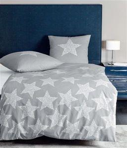 Janine Biber Bettwäsche 2 teilig Bettbezug 155 x 220 cm Kopfkissenbezug 80 x 80 cm DAVOS Sterne platin