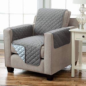 Wende Sesselschoner Sesselauflage RELAX mit Armlehnen und Taschen grau - hellgrau