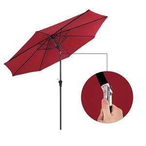 SONGMICS Sonnenschirm Ø 300 cm | Sonnenschutz mit Kurbel knickbar | achteckiger Gartenschirm aus Polyester | ohne Ständer Rot GPU30RD