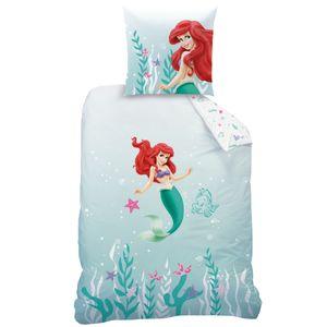 Arielle die Meerjungfrau Kinder-Bettwäsche 80x80 + 135x200 cm · Disney Mädchen-Bettwäsche · 100% Baumwolle