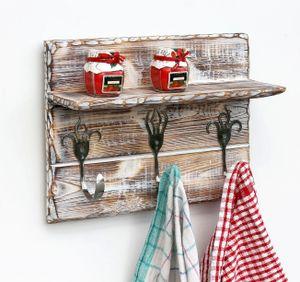 DanDiBo Handtuchhaken Handtuchleiste mit Ablage 93912 Handtuchhalter Küche Holz Hakenleiste Vintage Garderobenleiste Kleiderhakenleiste handgemacht