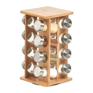 Gewürzregal mit 16 Behältern, 30 cm, Bambus, ZELLER - ZELLER