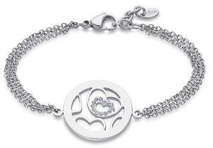 Edelstahl Armband Lotus Style LS2085-2/1 Herz Strass Kreis Anhänger