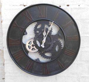 Dekorative Wanduhr Zahnrad Loftstyle Industrial-Style Eisen schwarz 39 cm