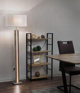 LED Stehleuchte, Holz, Textil, eichefarben, H 150 cm, FOREST