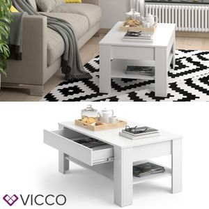 Vicco Couchtisch 110 x 65 cm Weiß - Beistelltisch Sofatisch Kaffeetisch