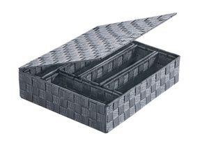 Körbchen aus Nylon 38x32x9 cm mit 5 Einsätzen und Deckel in grau