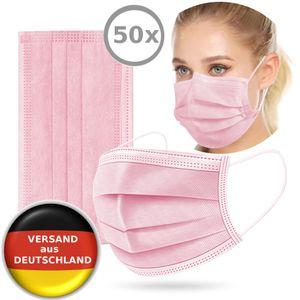 50x Einwegmaske Atemschutzmaske Schutzmaske Ventil Mundschutz Atemschutz Einweg Maske Einweg-Masken infektionsschutz Schutz PINK