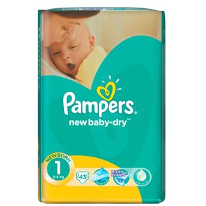 Pampers Baby Dry Gr. 1 New Baby 2-5kg, 43 Stück