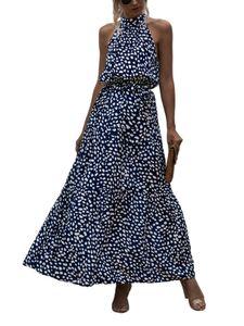 Damen y Neckholder Polka Dot Print Langes Kleid,Farbe: Blau,Größe:M