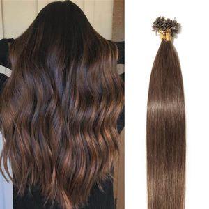 S-noilite Extensions Echthaar Bondings Haarverlängerung Keratin U-Tip Human Hair 100 Strähnen Mittelbraun 40 cm