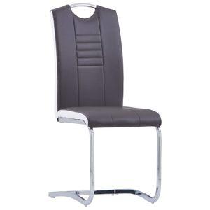 Hommie® Esszimmerstühle Freischwinger 2-er SET Loungesessel Wohnzimmerstuhl Stuhl Küche - Esszimmer im skandinavischen Grau Kunstleder ❤1139