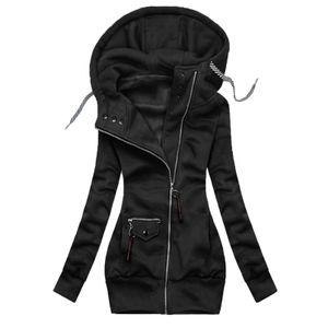 Damen Solid Stitching Kordelzug Kapuze Slim Fashion Jacke Mantel Outwear Größe:XXXXL,Farbe:Schwarz