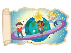 3D Wandtattoo Saturn Kinderzimmer Sterne Weltall Tapete Wand Aufkleber Wanddurchbruch Deko Wandbild Wandsticker 11N1367, Wandbild Größe F:ca. 97cmx57cm