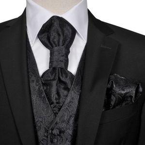 Herren Paisley-Hochzeitswesten-Set Größe 52 Schwarz