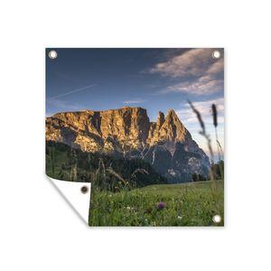 Gartenposter - Sonnenaufgang auf der italienischen Seiseralm - 100x100 cm
