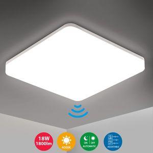 Oeegoo LED Deckenleuchte mit Bewegungsmelder 18W 1800LM Sensorleuchte LED Deckenlampe mit Bewegungssensor Einstellbar IP54 Wasserfest Badlampe für Garage Flur Balkon Keller Neutralweiß 4000K