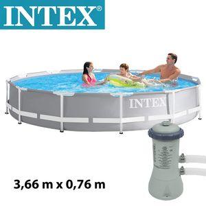 Intex Prism Frame Pool Set Ø 366 x 76 cm | inkl. Filterpumpe 2271 l/h