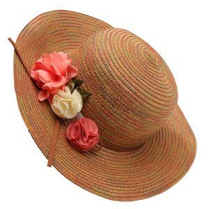 Strohhut-Sommerkappenkräuselungssommer-Strandkappe der Frauen breiter breiter khaki Farbe Khaki