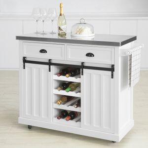 SoBuy FKW94-W Design Küchenwagen mit Flaschenablage Küchenschrank mit 2 Schiebetüren und 2 Schubladen Servierwagen mit Edelstahlplatte Sideboard Weiß