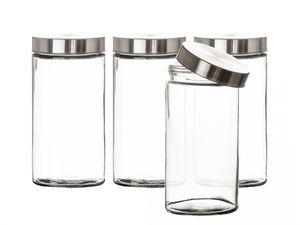 Vorratsgläser 4x 1,7 Liter Glas Schraubglas Lebensmittelglas Edelstahldeckel mit Schraubverschluss  22 x 11 cm Vorratsglas