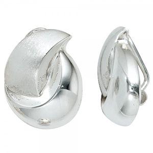 JOBO Ohrclips 925 Sterling Silber rhodiniert teilmattiert Ohrringe