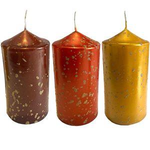 Eika Kerze Wachskerze Ø70x120mm gelb, orange oder rot Stumpenkerze Weihnachten, Farbe:gelb