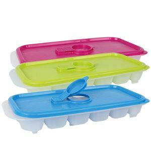 Eiswürfelbereiter Eiswürfelschalen mit Deckel Kunststoff, 3-farbig sortiert