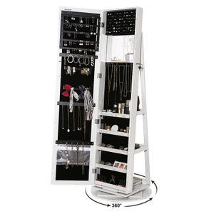 SONGMICS Schmuckschrank mit 160 cm Spiegel Leiterregal um 360° drehbar Schmuckaufbewahrung weiß JBC62W