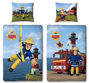 Baby-Bettwäsche Feuerwehrmann Sam, 100 x 135 cm 60 x 40 cm, 100% Baumwolle, Linon 2 Motive auf einer Bettwäsche mit Reißverschluss