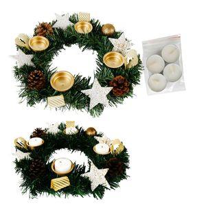 Adventskranz für Teelichter, fertig dekoriert Ø 30 cm  inkl. 4 Teelichtern