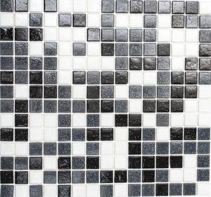 Mosaikfliese Glas Wandfliesen Badfliese Duschrückwand Fliesenspiegel weiß grau schwarz MOS52-0302