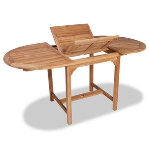 dereoir Ausziehbarer Gartentisch (110-160)x80x75 cm Massivholz Teak