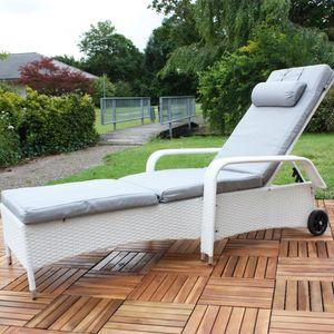Rattan Loungeliege verstellbar Sonnenliege Polyrattan Lounge Gartenliege Weiß