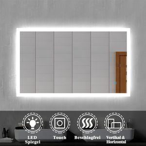 LED Badspiegel Badezimmerspiegel 100x60 mit Beleuchtung Lichtspiegel Wandspiegel mit Touch-schalter beschlagfrei IP44 energiesparend Kaltweiß