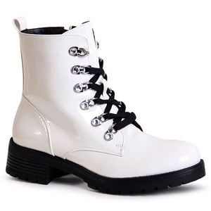 topschuhe24 1698 Damen Stiefeletten Worker Biker Boots Lack, Farbe:Weiß, Größe:36 EU